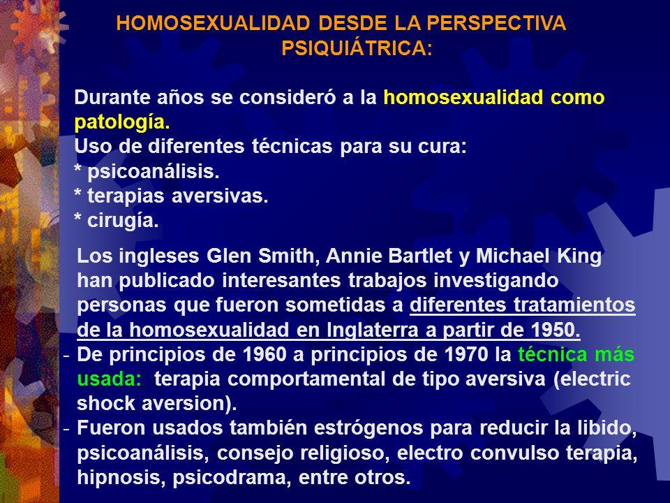 HOMOSEXUALIDAD DESDE LA PERSPECTIVA PSIQUIÁTRICA: