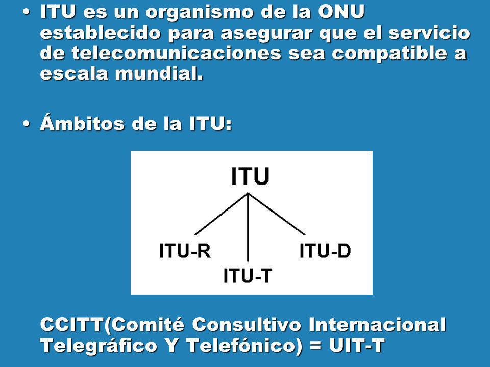 ITU es un organismo de la ONU establecido para asegurar que el servicio de telecomunicaciones sea compatible a escala mundial.