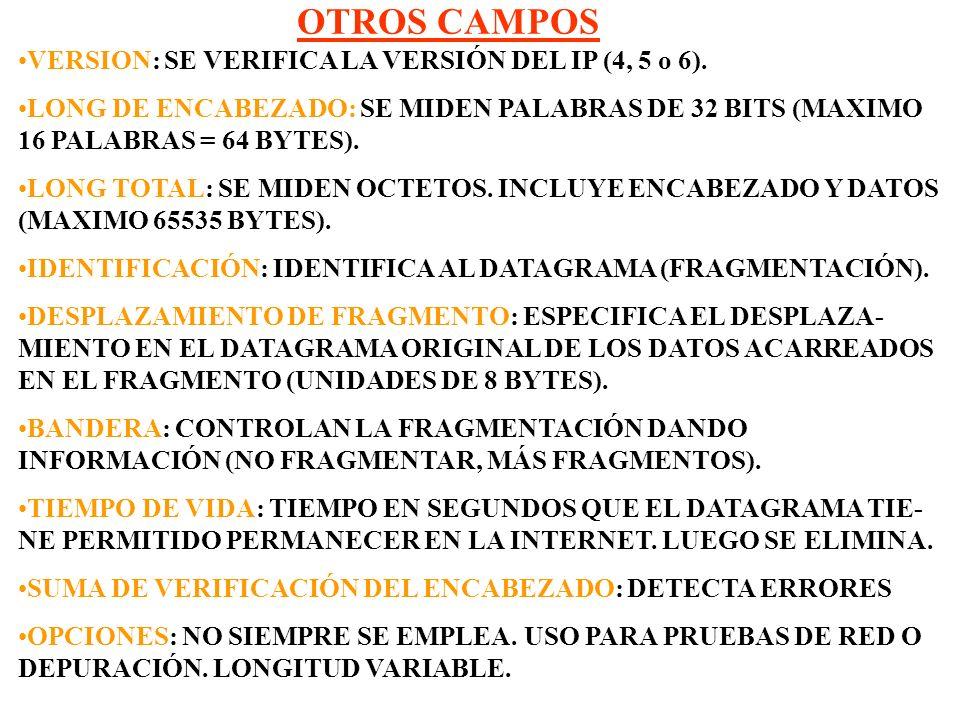 OTROS CAMPOS VERSION: SE VERIFICA LA VERSIÓN DEL IP (4, 5 o 6).