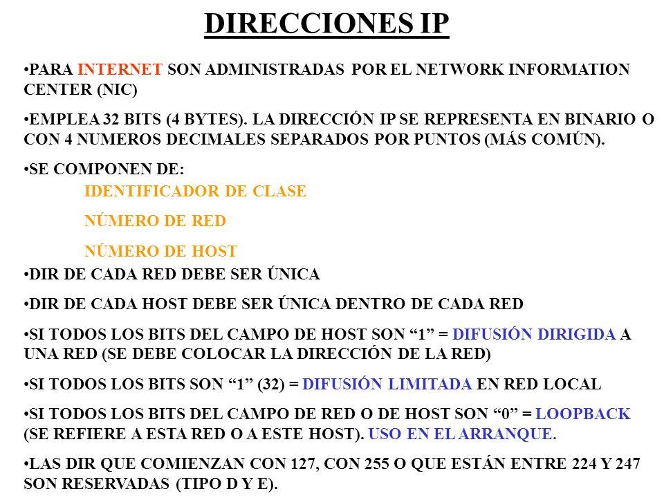 DIRECCIONES IPPARA INTERNET SON ADMINISTRADAS POR EL NETWORK INFORMATION CENTER (NIC)