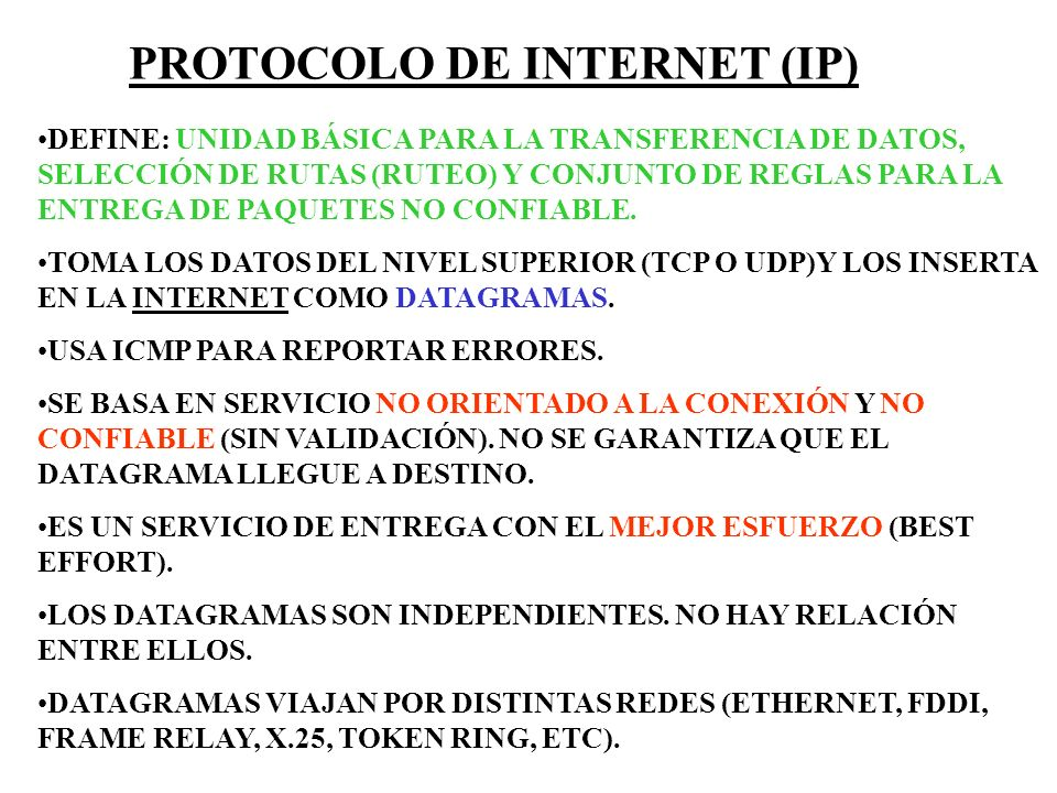 PROTOCOLO DE INTERNET (IP)
