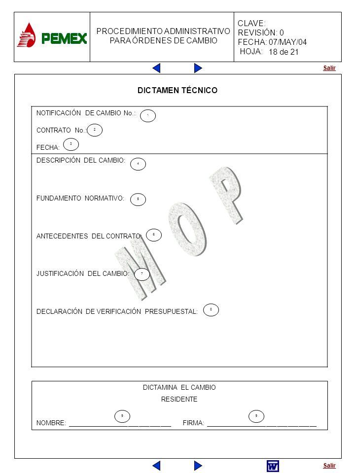 18 de 21 DICTAMEN TÉCNICO NOTIFICACIÓN DE CAMBIO No.: CONTRATO No.: