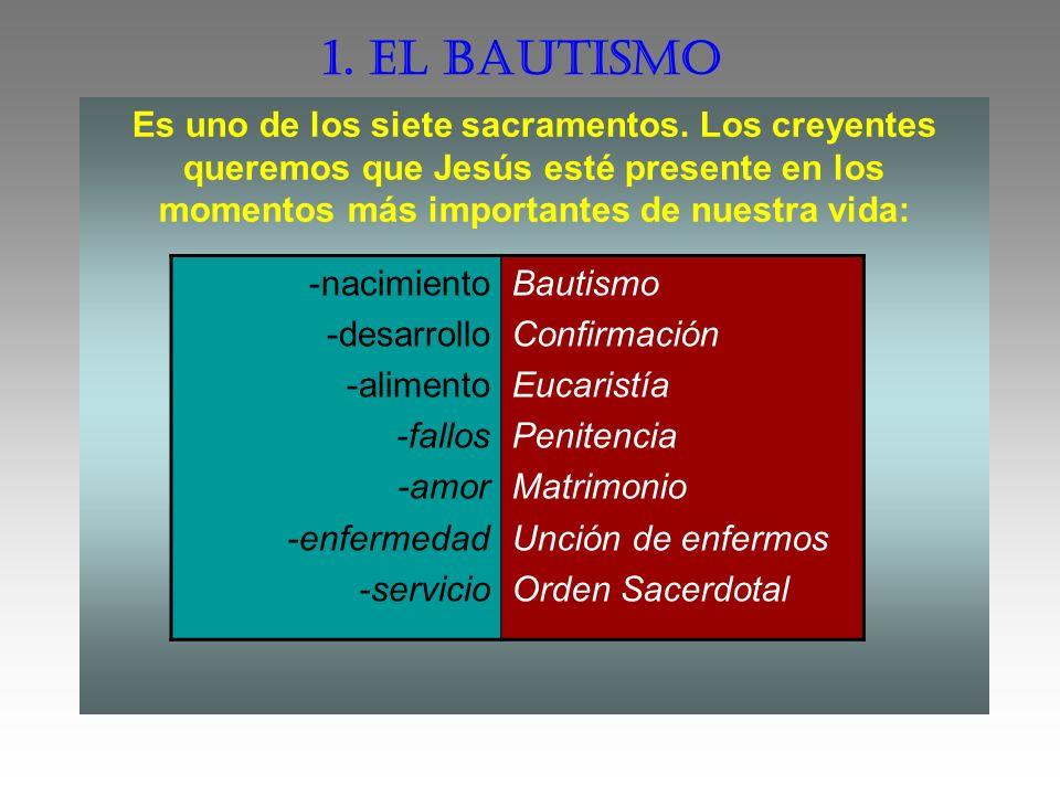 1. EL BAUTISMO Es uno de los siete sacramentos. Los creyentes queremos que Jesús esté presente en los momentos más importantes de nuestra vida: