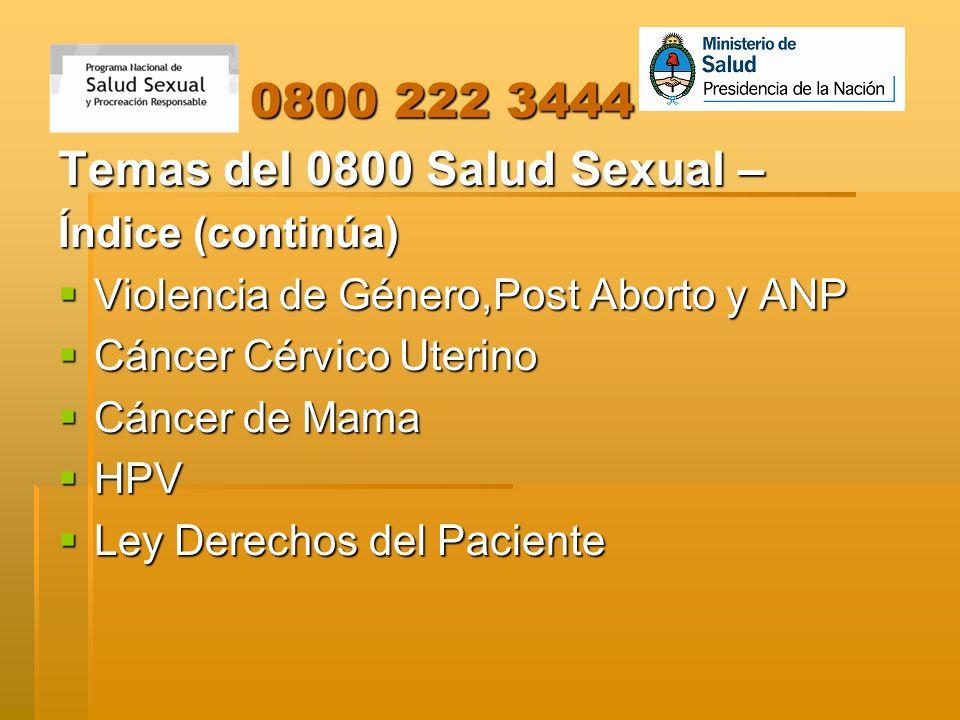 Temas del 0800 Salud Sexual –
