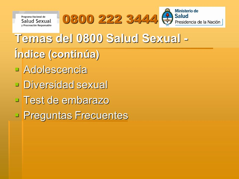 Temas del 0800 Salud Sexual -