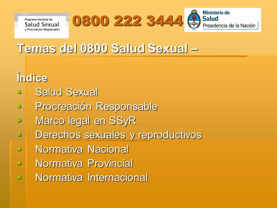 0800 222 3444 Temas del 0800 Salud Sexual – Índice Salud Sexual