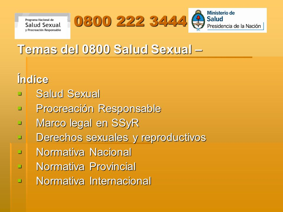 Temas del 0800 Salud Sexual – Índice Salud Sexual