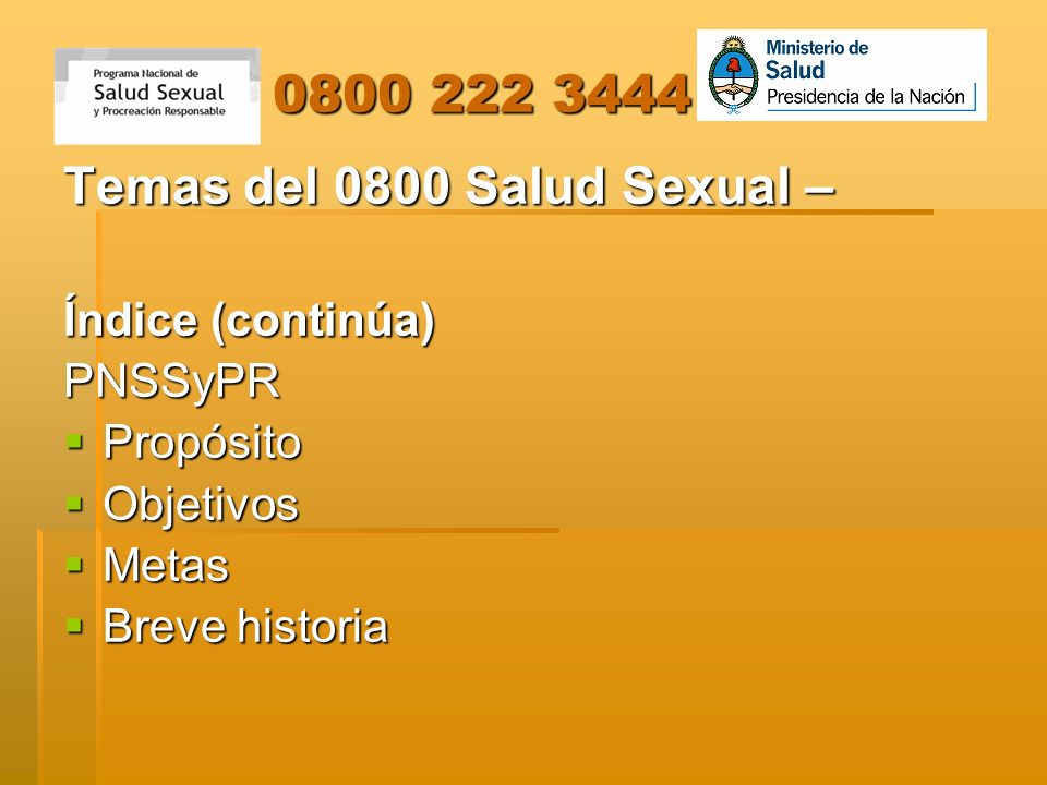 Temas del 0800 Salud Sexual –