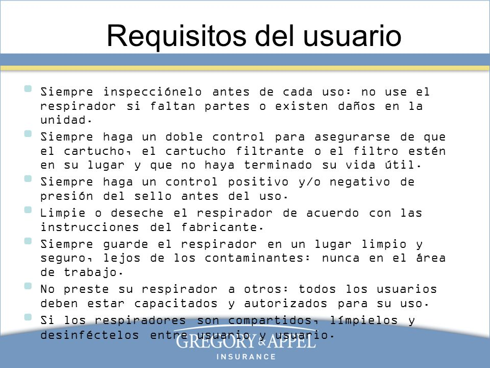 Requisitos del usuario