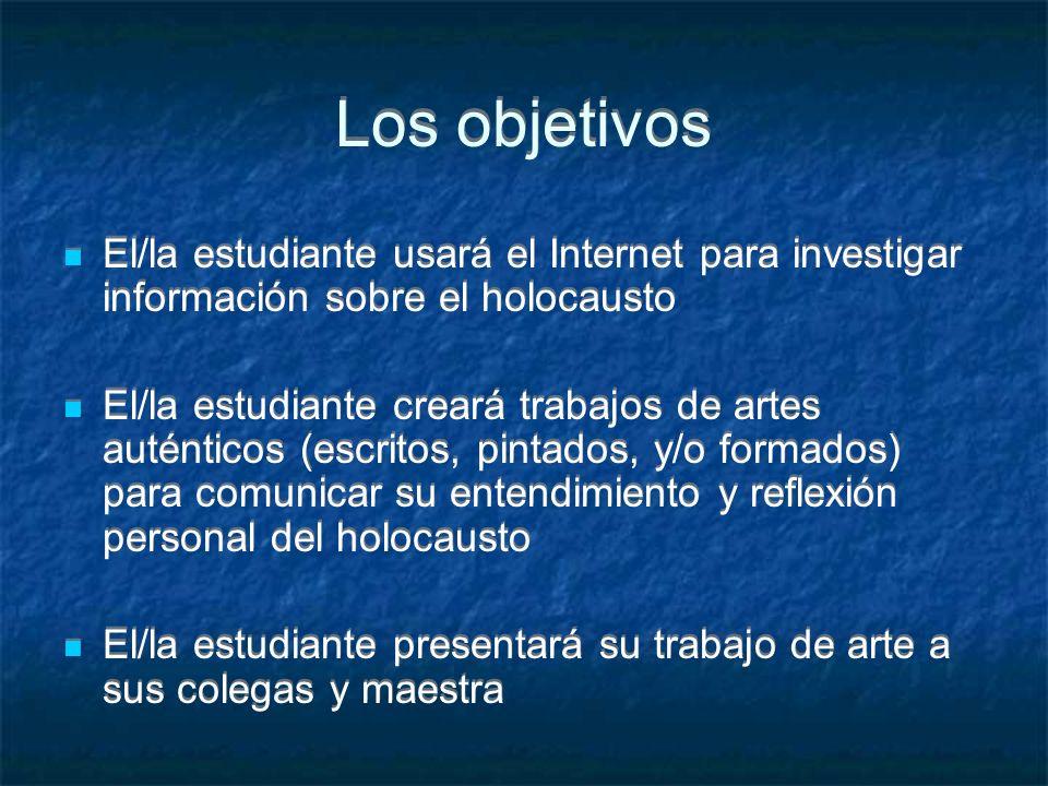 Los objetivos El/la estudiante usará el Internet para investigar información sobre el holocausto.