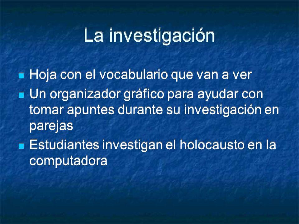 La investigación Hoja con el vocabulario que van a ver