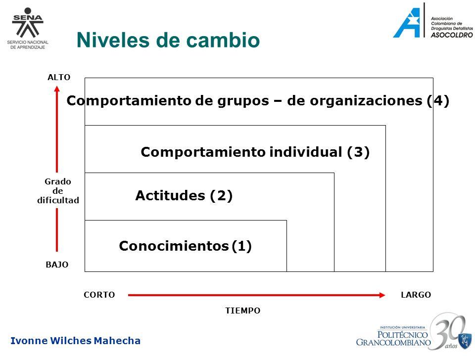 Niveles de cambio Comportamiento de grupos – de organizaciones (4)
