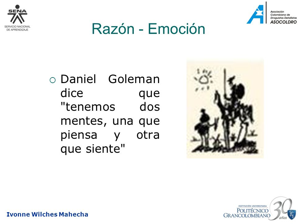 Razón - Emoción Daniel Goleman dice que tenemos dos mentes, una que piensa y otra que siente