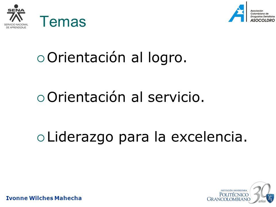Temas Orientación al logro. Orientación al servicio.