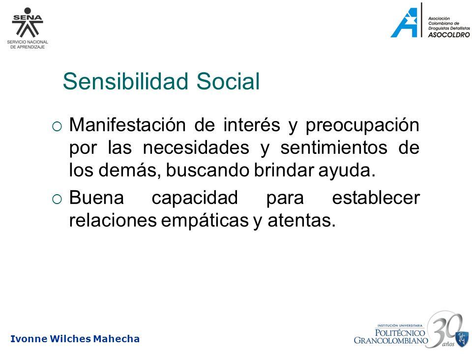 Sensibilidad Social Manifestación de interés y preocupación por las necesidades y sentimientos de los demás, buscando brindar ayuda.