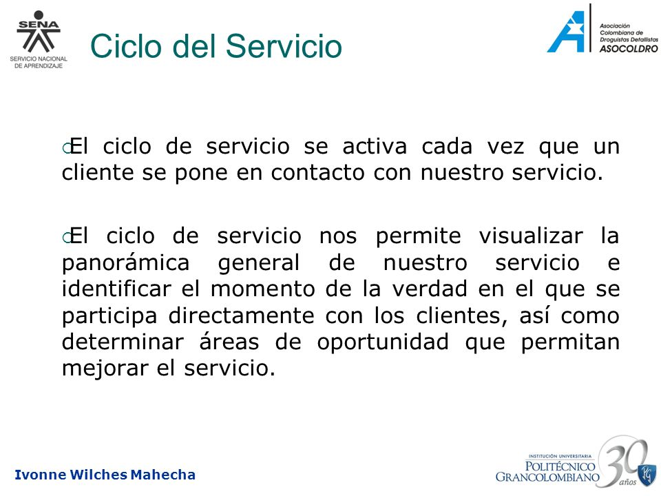 Ciclo del ServicioEl ciclo de servicio se activa cada vez que un cliente se pone en contacto con nuestro servicio.