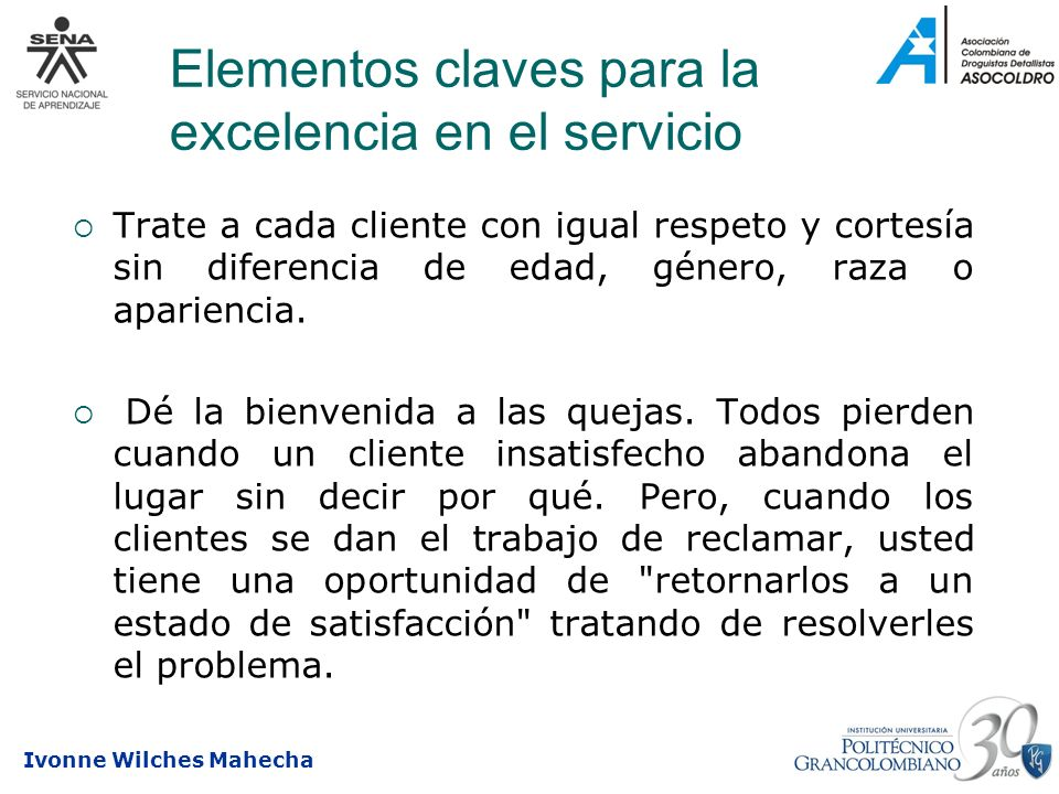 Elementos claves para la excelencia en el servicio