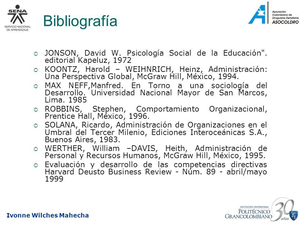 Bibliografía JONSON, David W. Psicología Social de la Educación . editorial Kapeluz, 1972.