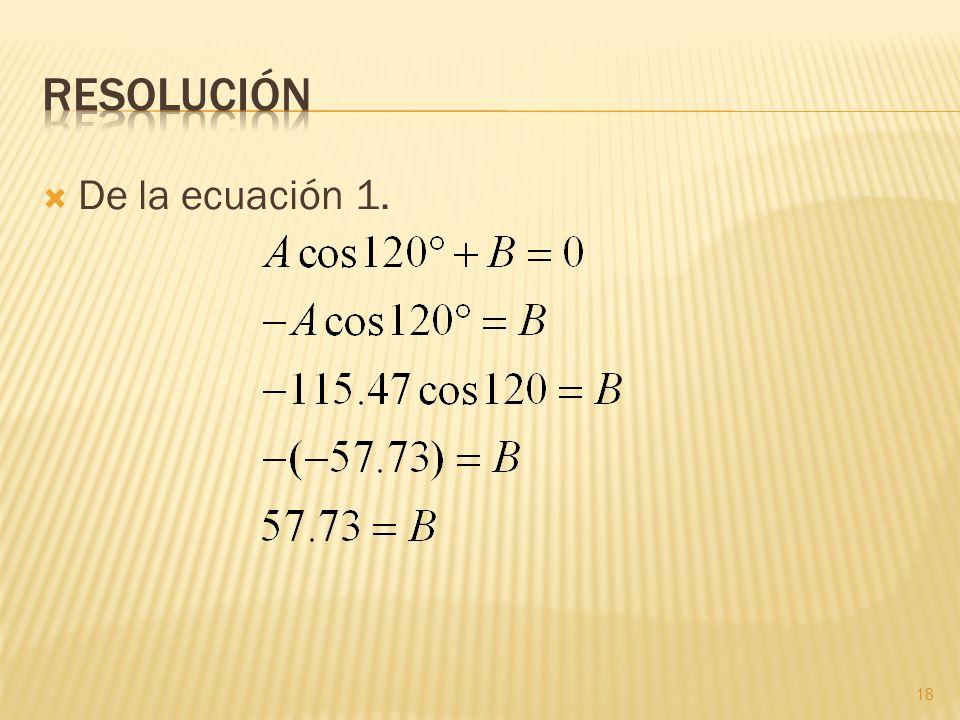 Resolución De la ecuación 1.