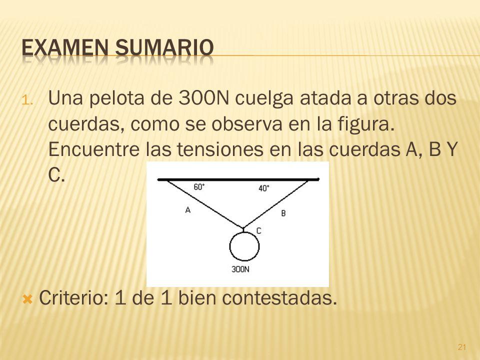 Examen sumarioUna pelota de 300N cuelga atada a otras dos cuerdas, como se observa en la figura. Encuentre las tensiones en las cuerdas A, B Y C.