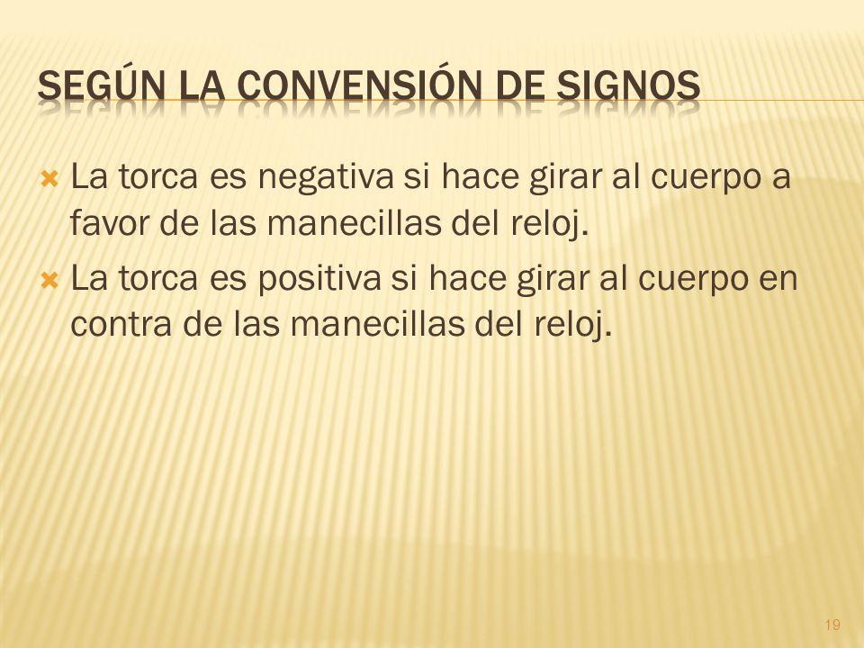 Según la convensión de signos