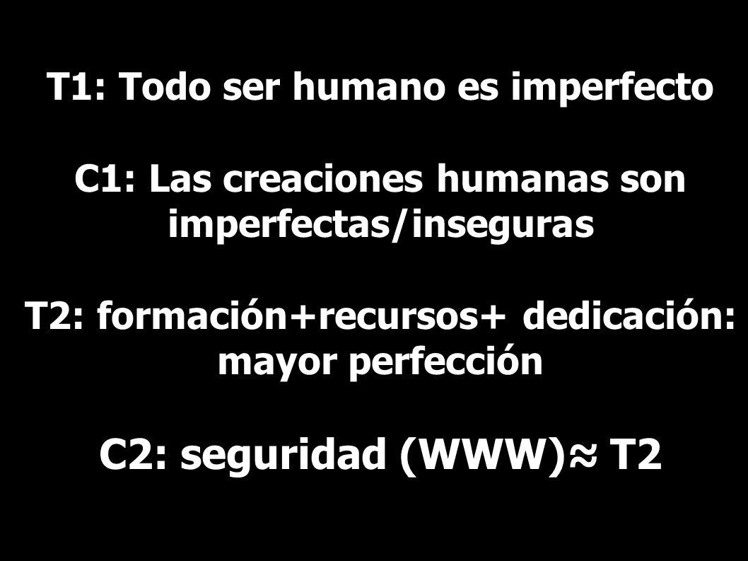 T1: Todo ser humano es imperfecto C1: Las creaciones humanas son imperfectas/inseguras T2: formación+recursos+ dedicación: mayor perfección C2: seguridad (WWW)≈ T2