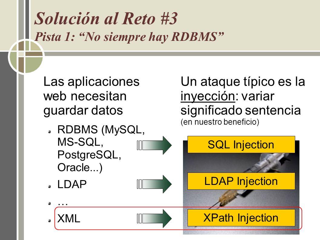 Solución al Reto #3 Pista 1: No siempre hay RDBMS