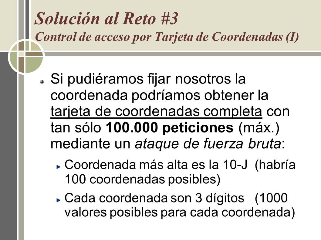 Solución al Reto #3 Control de acceso por Tarjeta de Coordenadas (I)