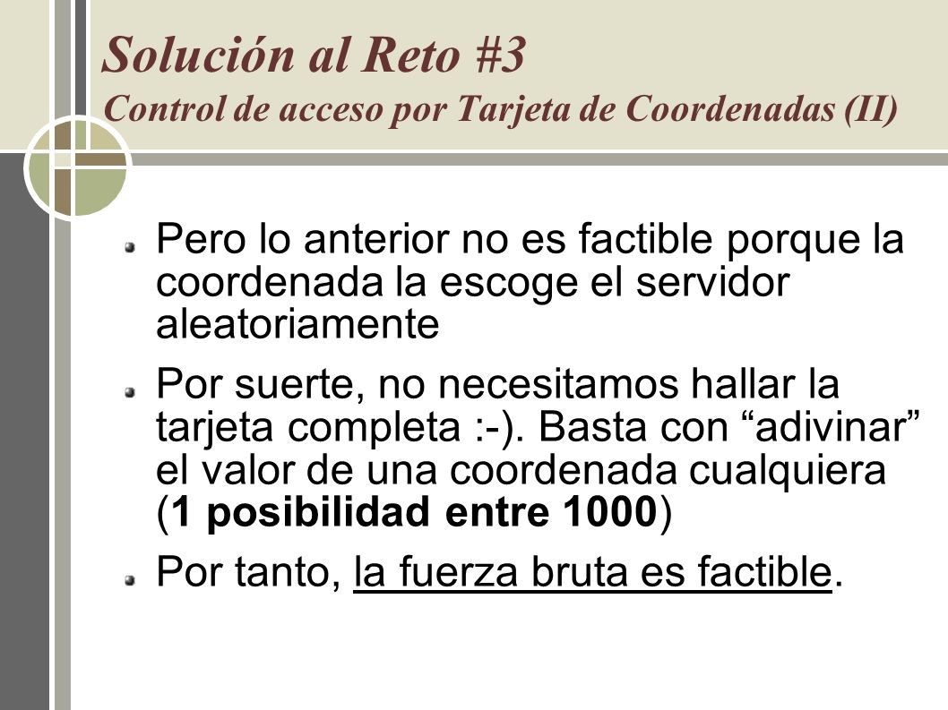 Solución al Reto #3 Control de acceso por Tarjeta de Coordenadas (II)