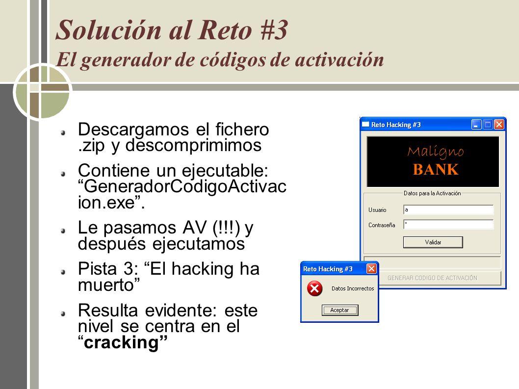Solución al Reto #3 El generador de códigos de activación
