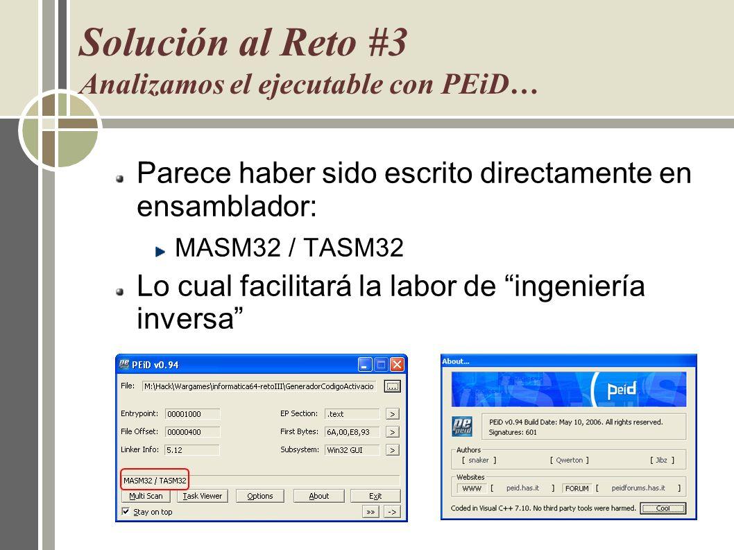 Solución al Reto #3 Analizamos el ejecutable con PEiD…