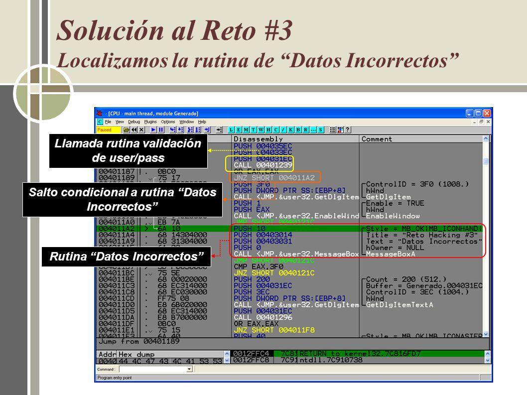 Solución al Reto #3 Localizamos la rutina de Datos Incorrectos