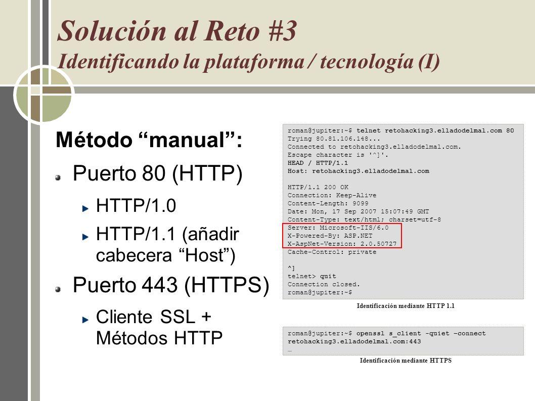 Solución al Reto #3 Identificando la plataforma / tecnología (I)
