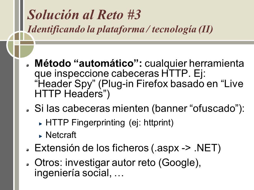 Solución al Reto #3 Identificando la plataforma / tecnología (II)