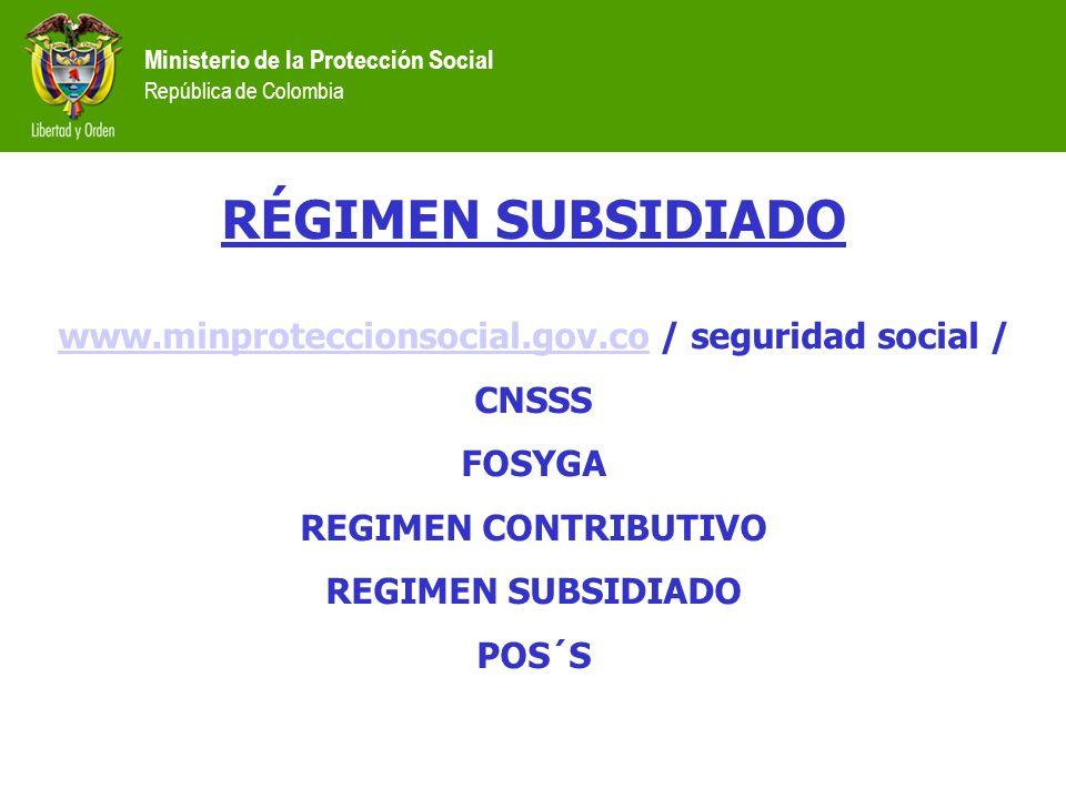www.minproteccionsocial.gov.co / seguridad social /