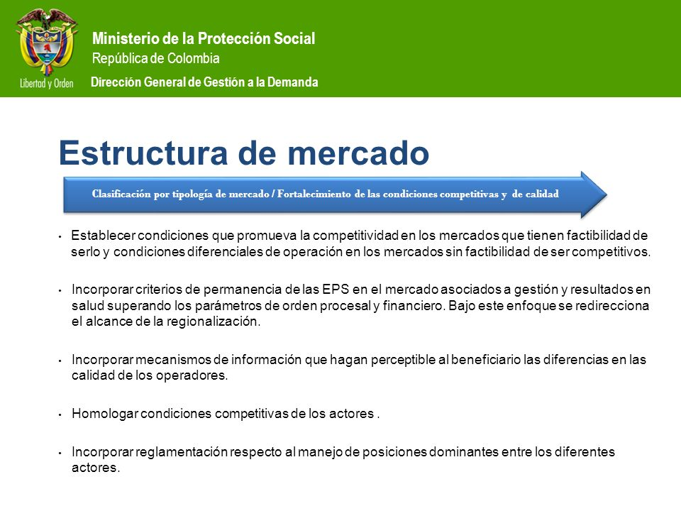 Estructura de mercado Clasificación por tipología de mercado / Fortalecimiento de las condiciones competitivas y de calidad.