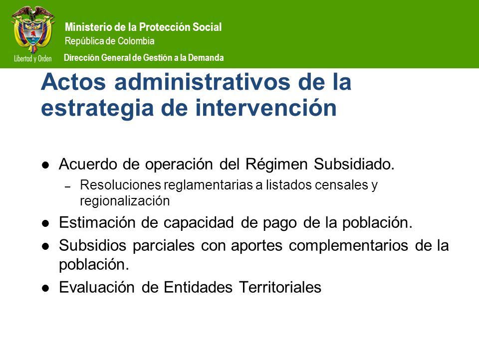 Actos administrativos de la estrategia de intervención