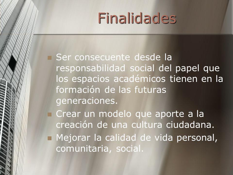 FinalidadesSer consecuente desde la responsabilidad social del papel que los espacios académicos tienen en la formación de las futuras generaciones.