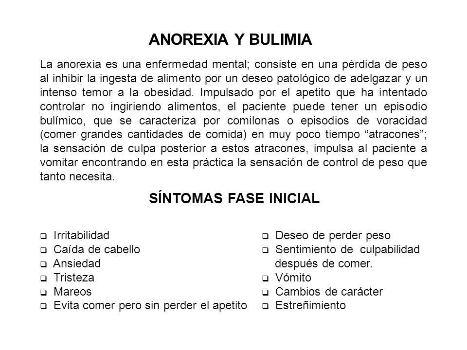 ANOREXIA Y BULIMIA SÍNTOMAS FASE INICIAL