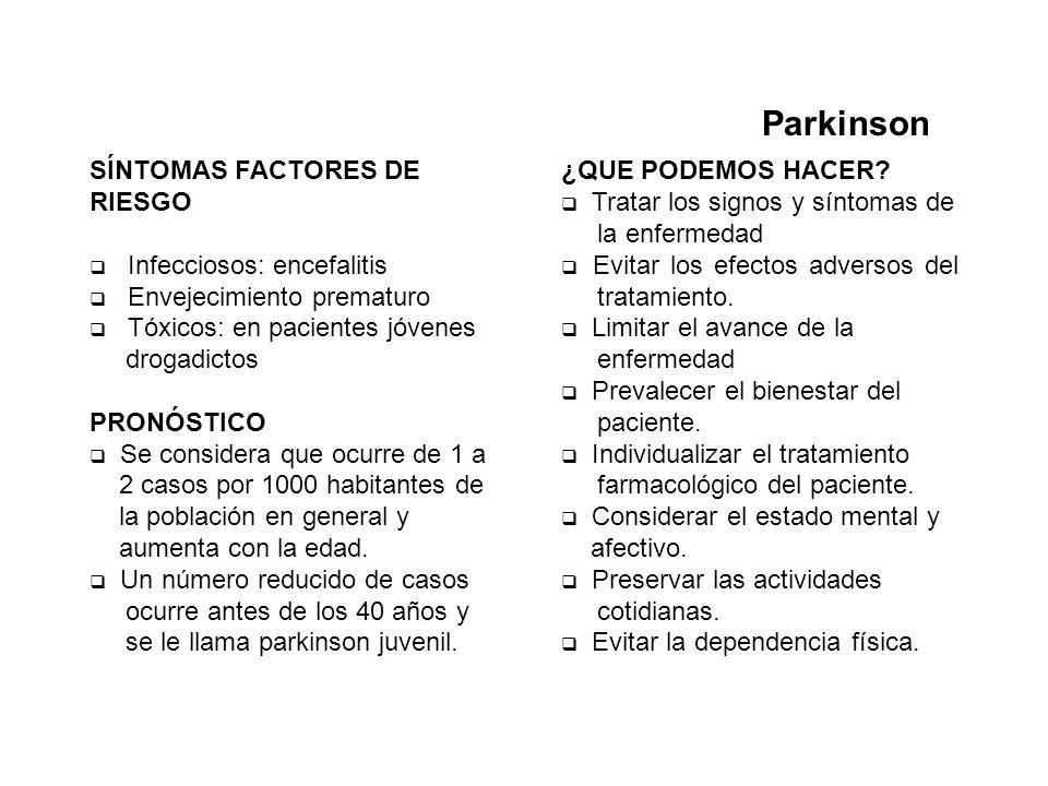 Parkinson SÍNTOMAS FACTORES DE RIESGO Infecciosos: encefalitis