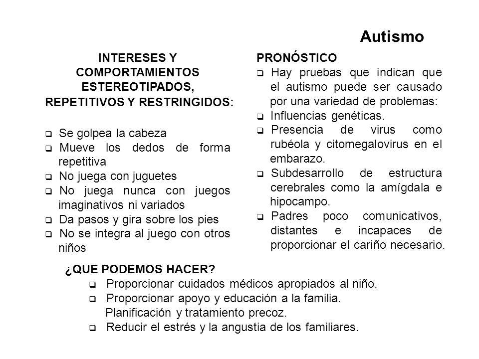 AutismoINTERESES Y COMPORTAMIENTOS ESTEREOTIPADOS, REPETITIVOS Y RESTRINGIDOS: Se golpea la cabeza.