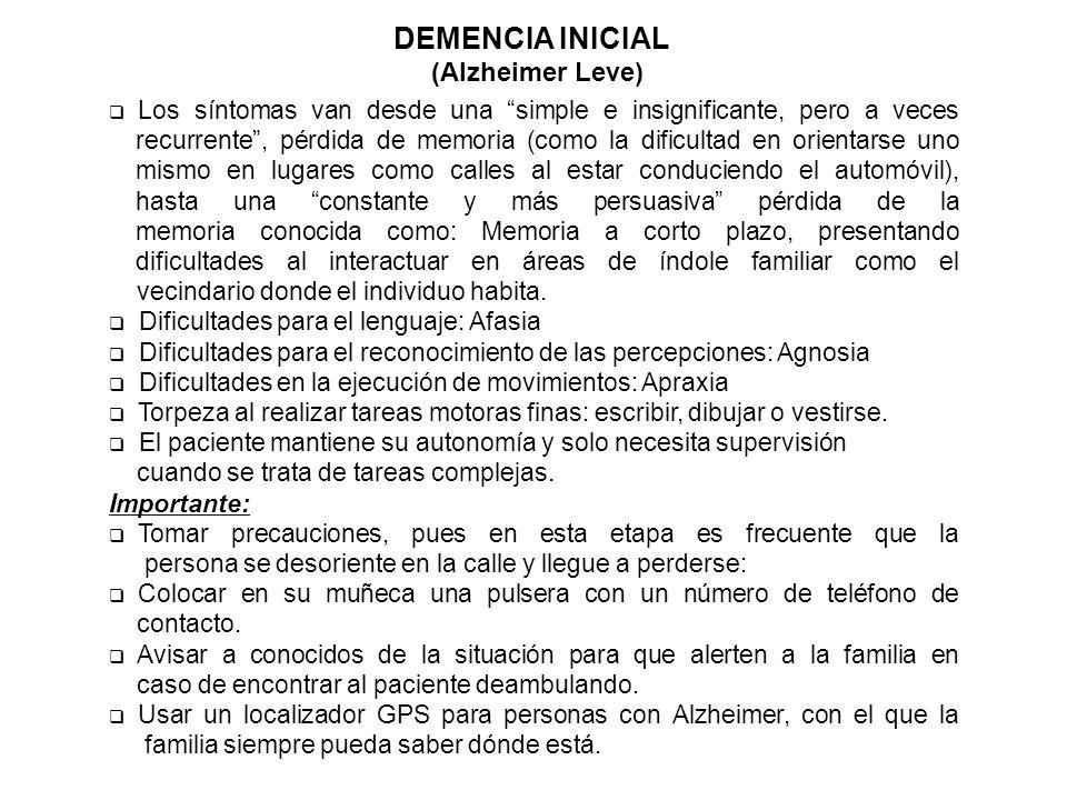 DEMENCIA INICIAL (Alzheimer Leve)