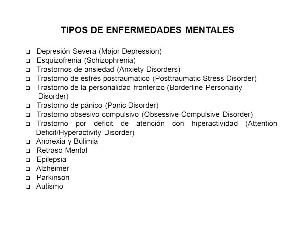 TIPOS DE ENFERMEDADES MENTALES