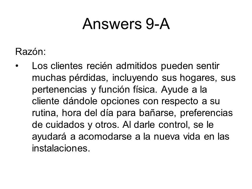 Answers 9-ARazón: