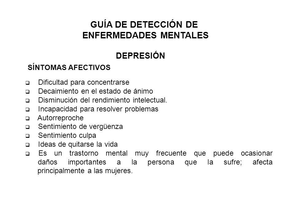 GUÍA DE DETECCIÓN DE ENFERMEDADES MENTALES