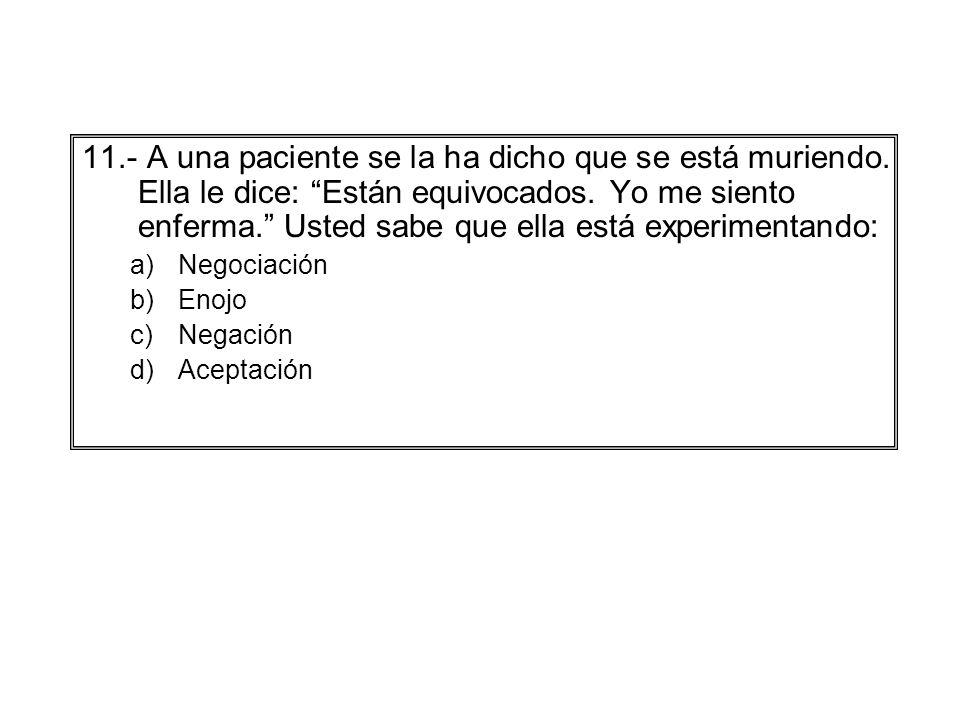 11. - A una paciente se la ha dicho que se está muriendo