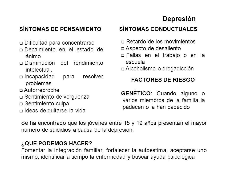 Depresión SÍNTOMAS DE PENSAMIENTO Dificultad para concentrarse