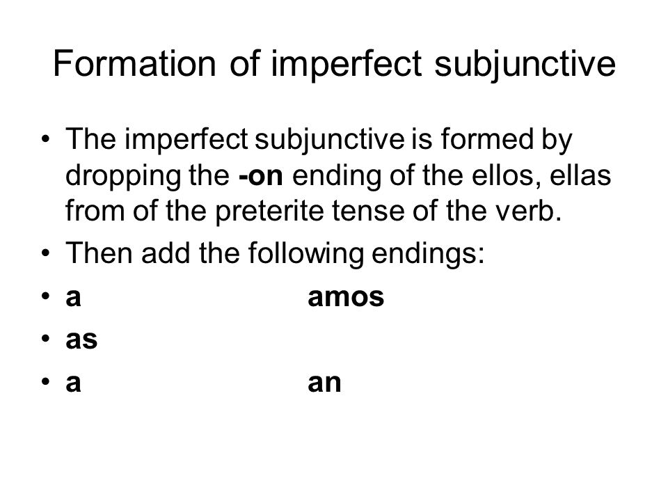 Formation of imperfect subjunctive