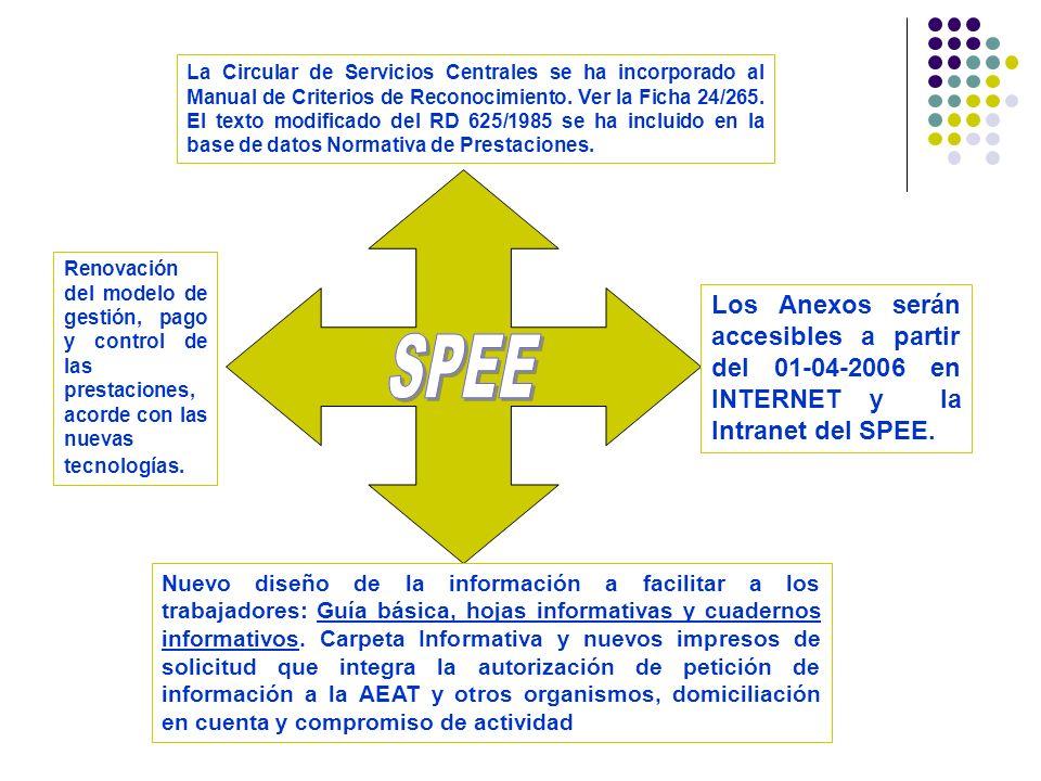 La Circular de Servicios Centrales se ha incorporado al Manual de Criterios de Reconocimiento. Ver la Ficha 24/265. El texto modificado del RD 625/1985 se ha incluido en la base de datos Normativa de Prestaciones.