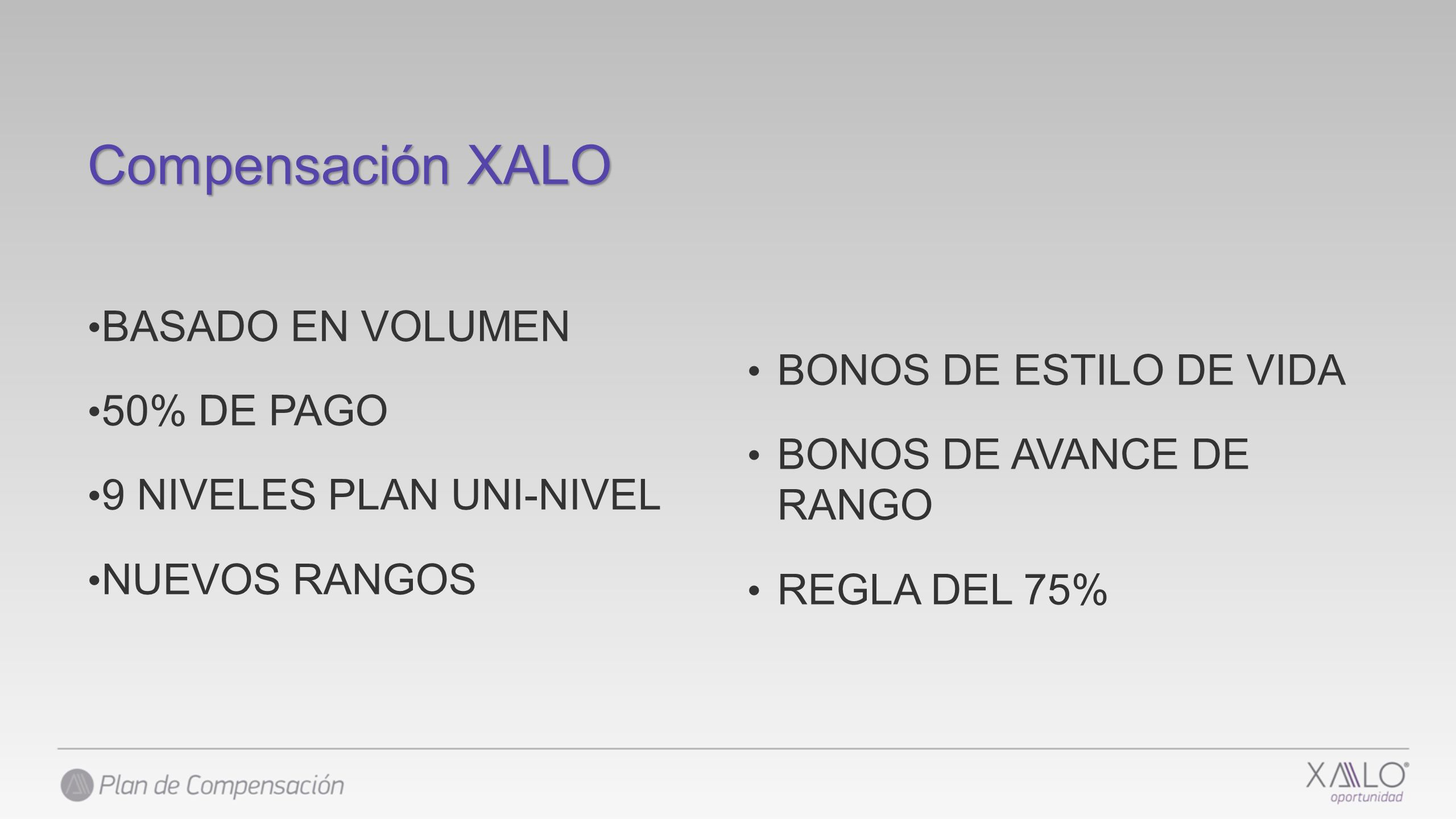Compensación XALO BASADO EN VOLUMEN 50% DE PAGO
